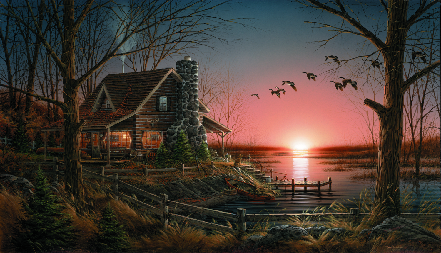 Log cabin in the woods painting - Images
