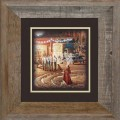 "Paper > Unsigned > Companions > Framed > Barnwood > 11.75""×11.75"": Red Dress Girl"