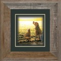 "Paper > Unsigned > Companions > Framed > Barnwood > 11.75""×11.75"": Cat and Dog"