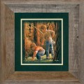 """Paper > Unsigned > Companions > Framed > Barnwood > 11.75""""×11.75"""": Fishing Buddies"""