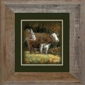 """Paper > Unsigned > Companions > Framed > Barnwood > 11.75""""×11.75"""": Cattle Buddies"""