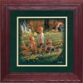 """Paper > Unsigned > Companions > Framed > Cherry > 10""""×10"""": Picking Dandelions"""