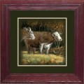 """Paper > Unsigned > Companions > Framed > Cherry > 10""""×10"""": Cattle Buddies"""