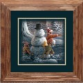"Paper > Unsigned > Companions > Framed > Oak > 10""×10"": Kids and Snowman"