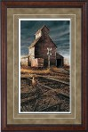 "Paper > Unsigned > Pinnacle > Framed > Cherry > Dusk/Black Spruce > 20.5""×29.5"": Grain Elevator"